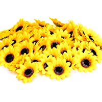 "KINWELL 100pcs Artificial Silk Yellow Sunflower Heads 2.8"" Fabric Floral for Home Decoration Wedding Decor, Bride…"