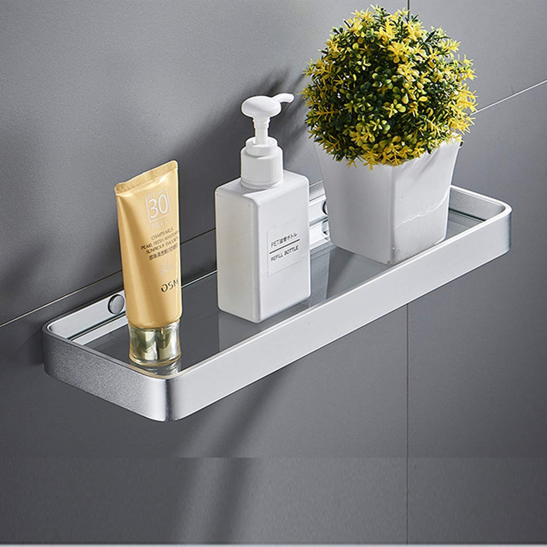 KaryHome 13.8 Inch Bathroom Glass Shelf, Wall Mounted Organizer Shelf with Rectangular Tempered Glass,Rust Proof Space Aluminum