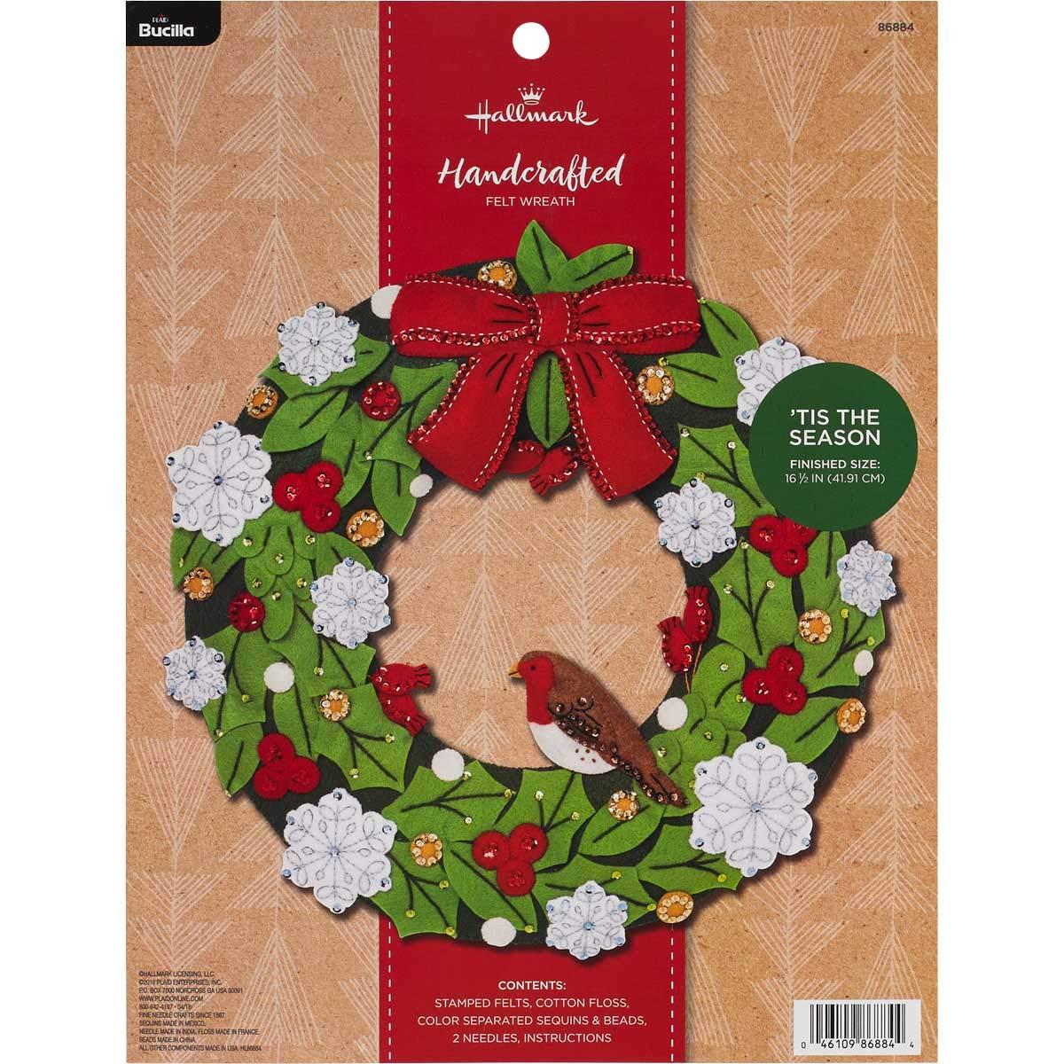 Bucilla 86884 Hallmark Felt Wreath Kit, 16.5'', Tis The Season by Bucilla