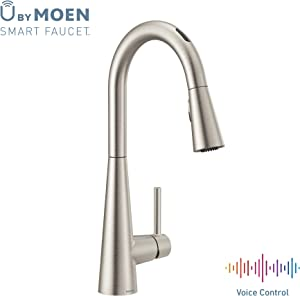 Moen 7864EVSRS Sleek U by Moen Smart Pulldown Kitchen Faucet with Voice Control and MotionSense, Spot Resist Stainless