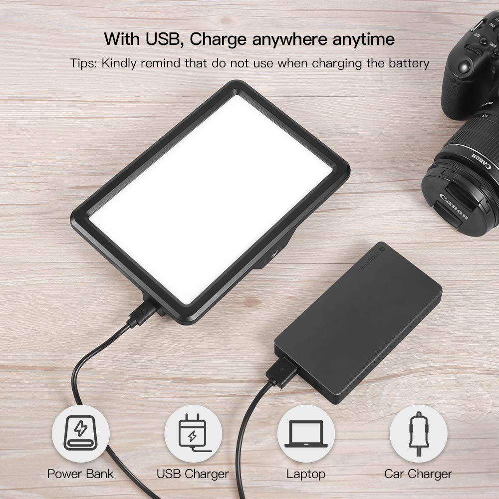 RALENO Led Video Light, Panel Light Built-in 5000mA Lithium Battery, 3200K-6500K White and Warm Light Adjustable, with Hot Shoe Ball Mount, USB Cable 104 LED Light for All DSLR Cameras by RaLeno (Image #5)