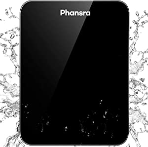 Phansra Food Scale, 22lb Digital Kitchen Scale with USB Rechargeable, IPX5 Waterproof and Pull Out Display, 1g/0.1oz Precision Weight Grams Ounces and Milliliter for Baking and Cooking, Black