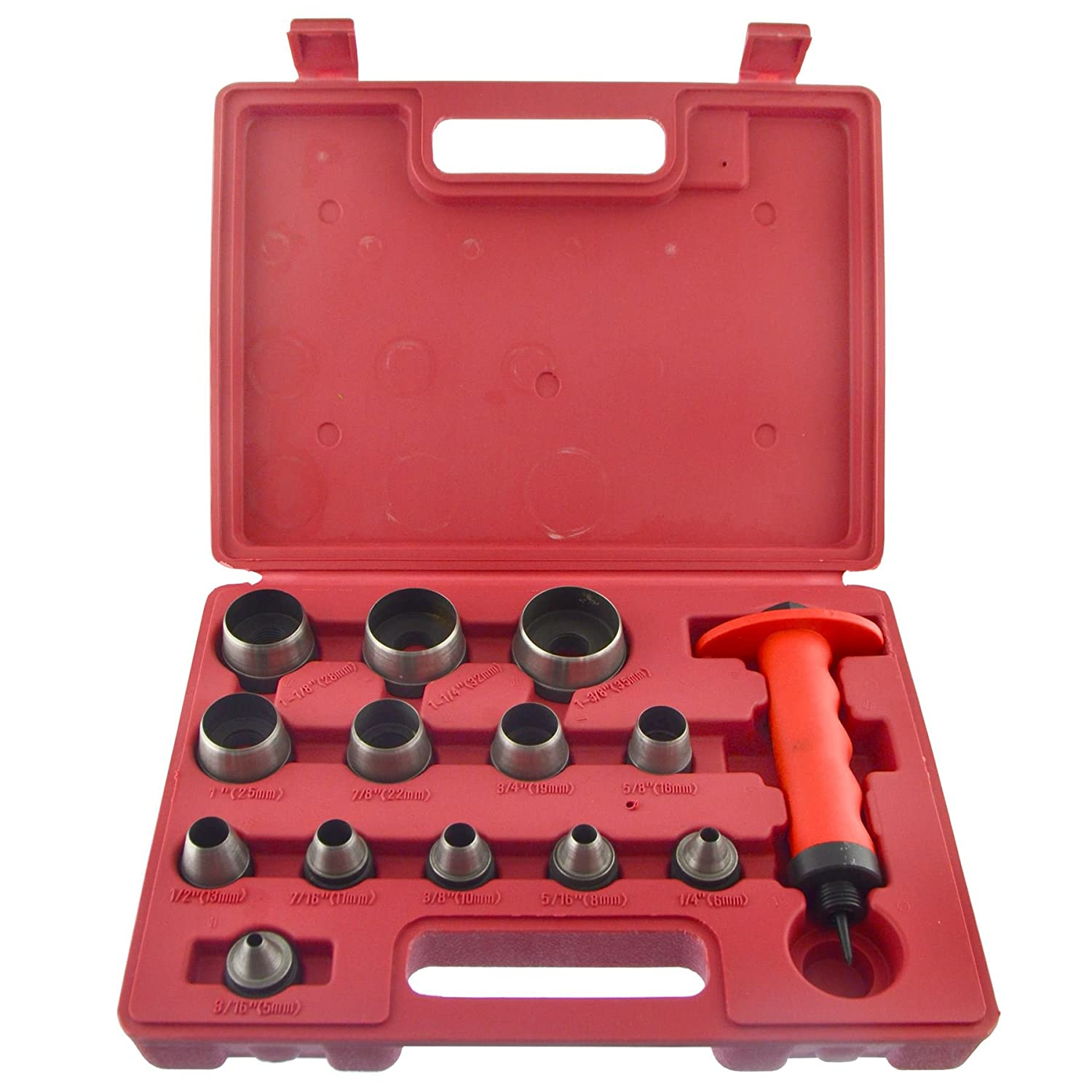 Hollow Punch Set Hole Punch Tool For Leather Plastic Foam Fibre 5-35mm 14pc Set AB Tools
