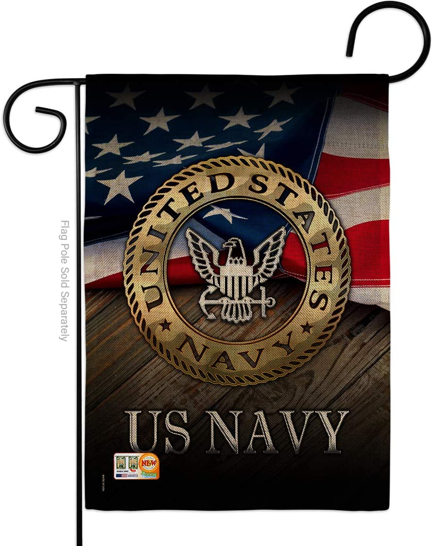 Navy US Burlap Garden Flag Armed Forces USN Seabee United State American Military Veteran Retire Official Small Decorative Gift Yard House Banner Double-Sided Made in USA 13 X 18.5