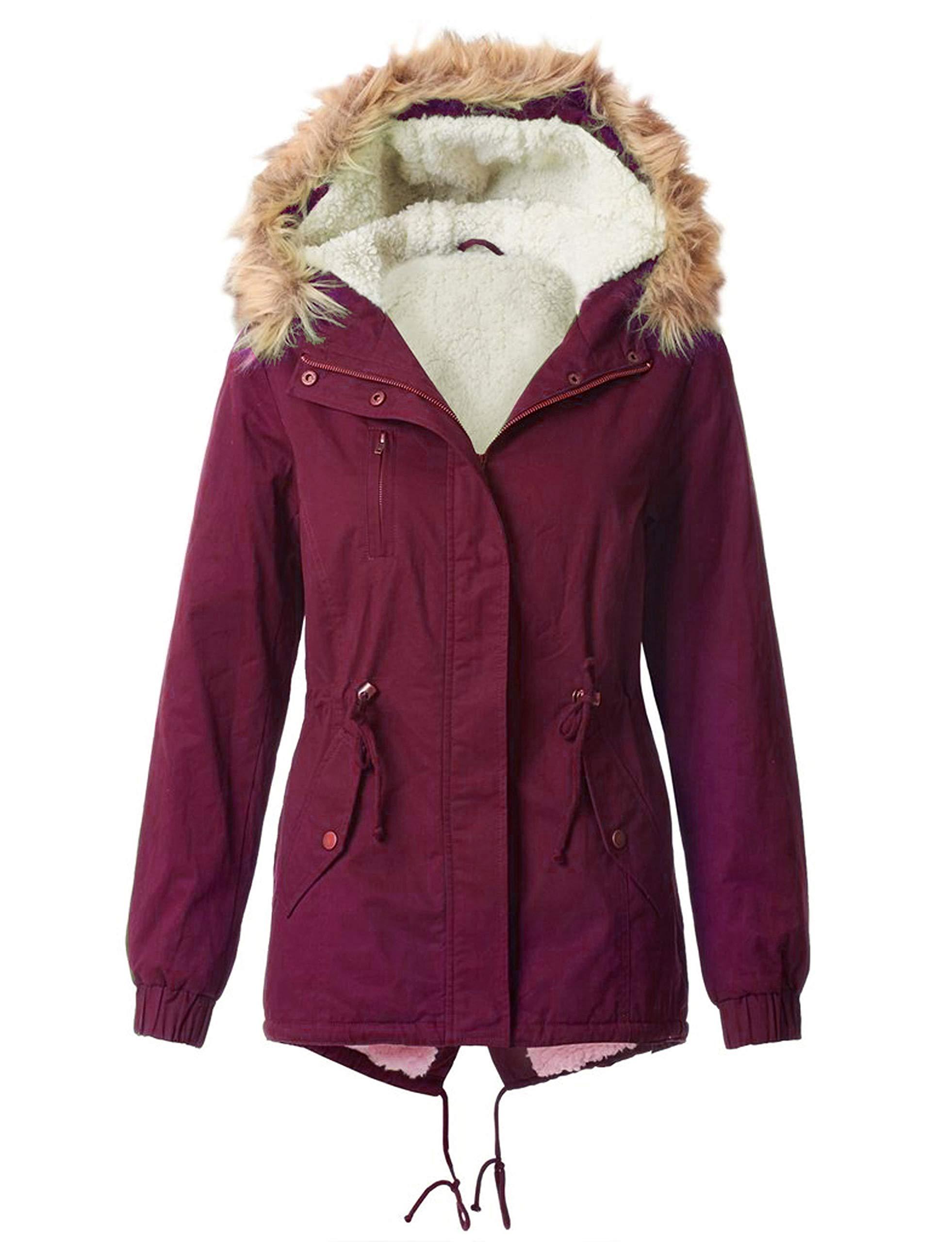 OLLIE ARNES Women's Versatile Utilitarian Warm Anorak Drawstring Parka Jacket 850J_Wine M by OLLIE ARNES