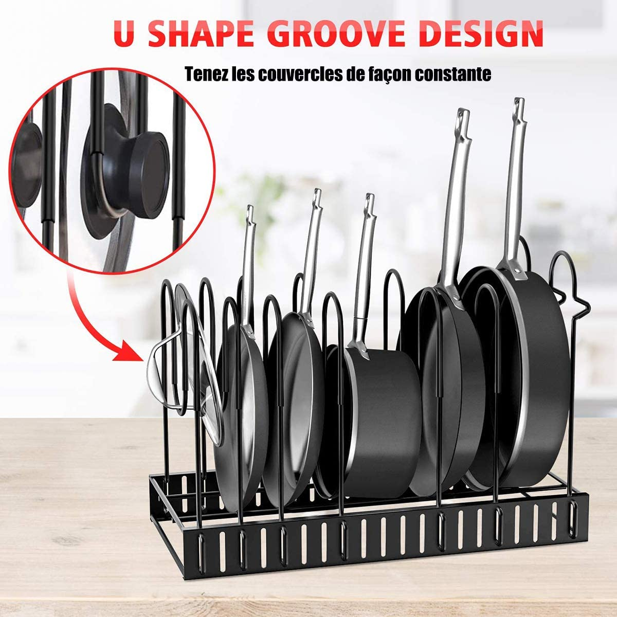 Multifunctional Pans Organizer Rack Detachable Pans Holder 3 in 1 Storage with 8 Compartments Shelf Cookware Holders Cabinet Pantry