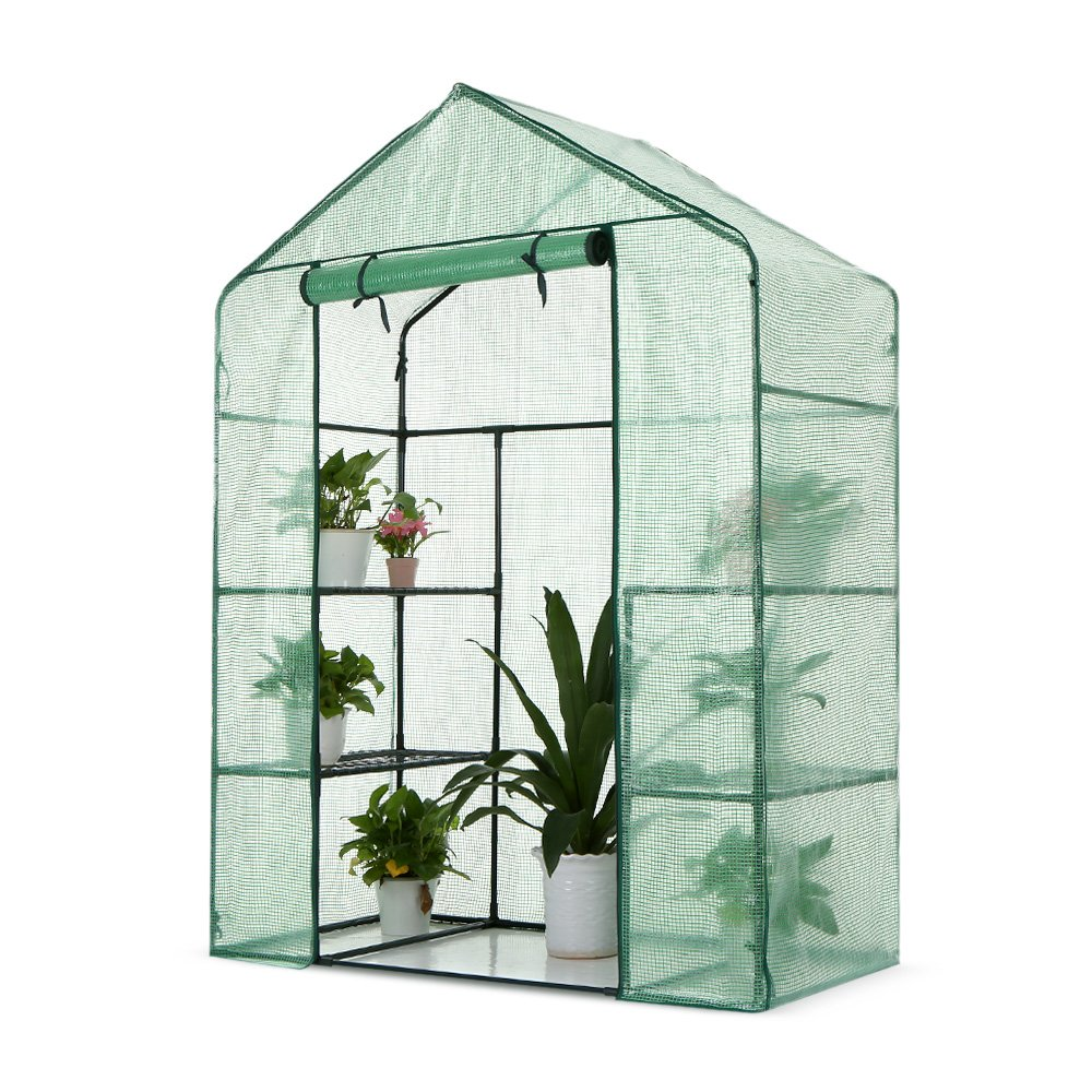 iKayaa Outdoor Mini Walk In Greenhouse 3 Layer W 4 Shelves Reinforced PE Cover Metal Frame 56 x29 x77