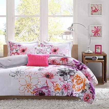 Amazoncom Comforter Bed Set Teen Kids Girls Orange Pink Purple