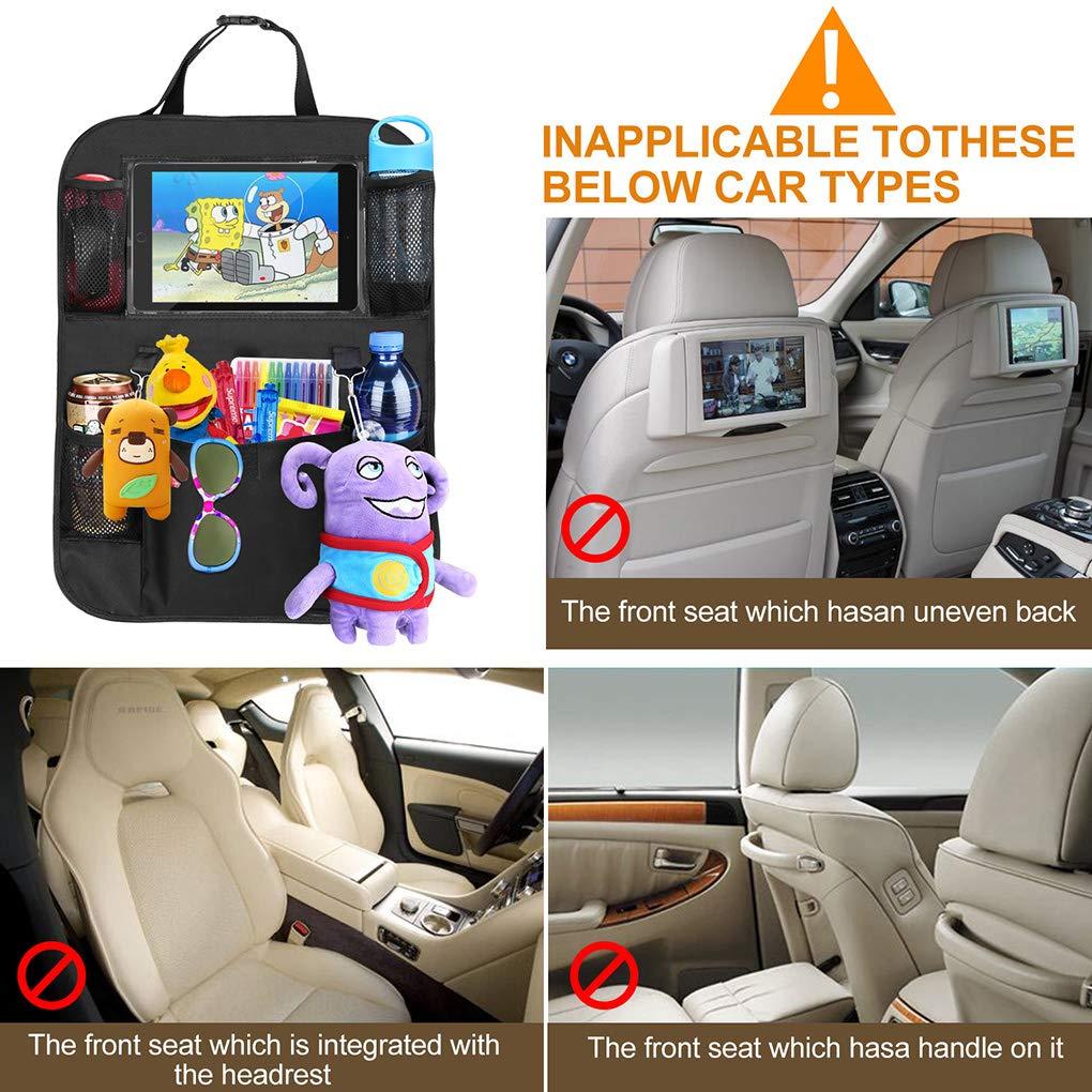 Adevena Car Seat Organizer 5 Storage Pockets for Kids Toddlers Toy Bottle Drinks Vehicle Travel Accessories Car Backseat Protectors Kick Mat with 10 Tablet Holder Black 2 Park