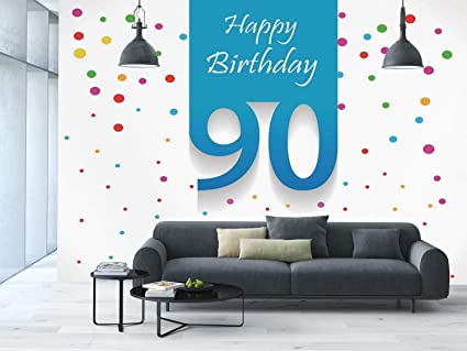 Large Wall Mural Sticker 90th Birthday DecorationsStylized Framework With Hand Writing Ninety Years
