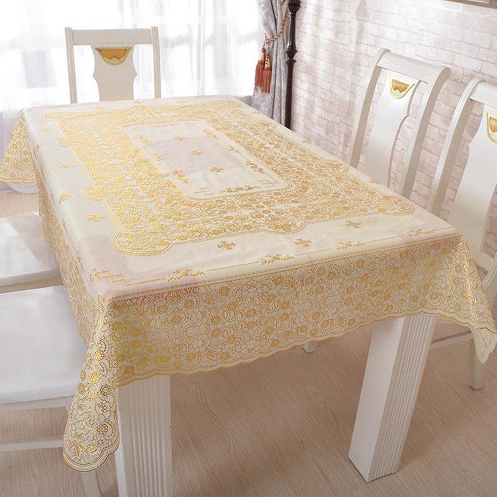 fanjow PVC Gildingテーブルクロス耐熱性テーブルカバーOblongテーブルランナー花柄oil-proof防水汚れ防止テーブルオーバーレイ 134cm*174cm 134cm*174cm Golden Floral B072L7F6R3