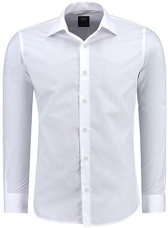 ad7b493b54950b J S FASHION Herren-Hemd – Slim Fit – Bügelleicht – Langarm-Hemd für Business