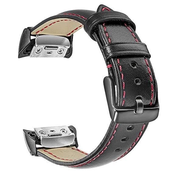 TRUMiRR Bracelet de Montre Gear Fit2, Bracelet de Bracelet Sport en Cuir véritable pour Samsung Gear Fit 2 Montre SM-R360 / Fit 2 Pro SM-R365: Amazon.fr: ...