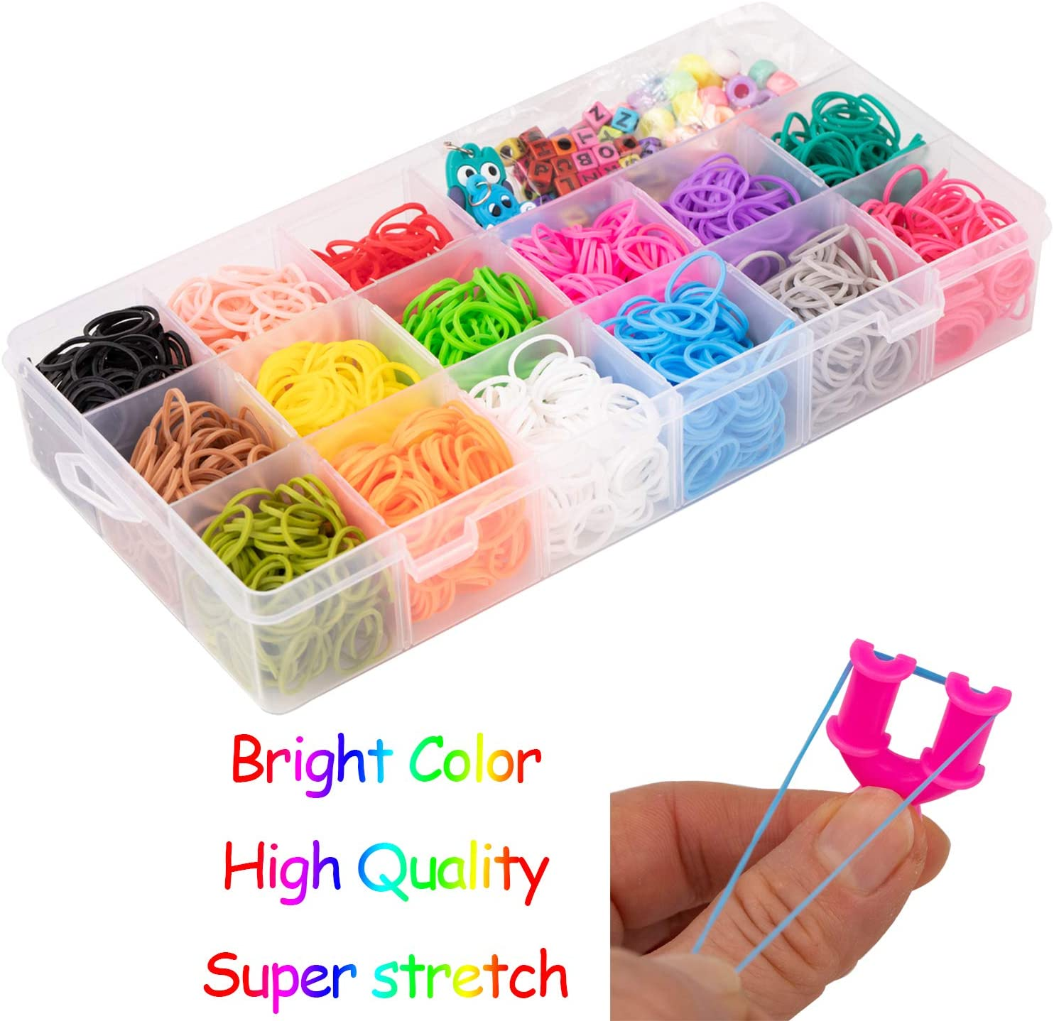 No Loom Board Included. Great Gifts for Girls and Boys Liberry Rainbow Rubber Bands Bracelet Making Kit with Loom Bands Storage Container
