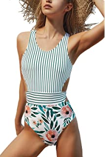 cf97a9ee9b Amazon.com: CUPSHE Women's Beautiful World Print One-piece Swimsuit ...