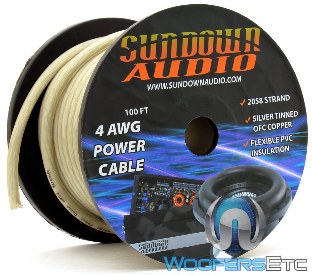 2058 Strands Silver - Sundown Audio 100 Ft 4 AWG Power Cable by Sundown Audio