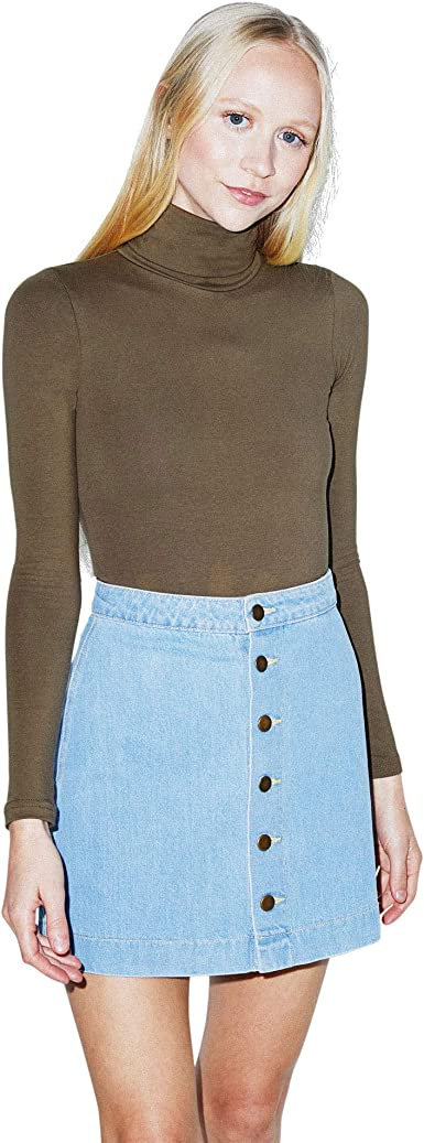 American Apparel Womens Denim Button Front A-line Mini Skirt Skirt