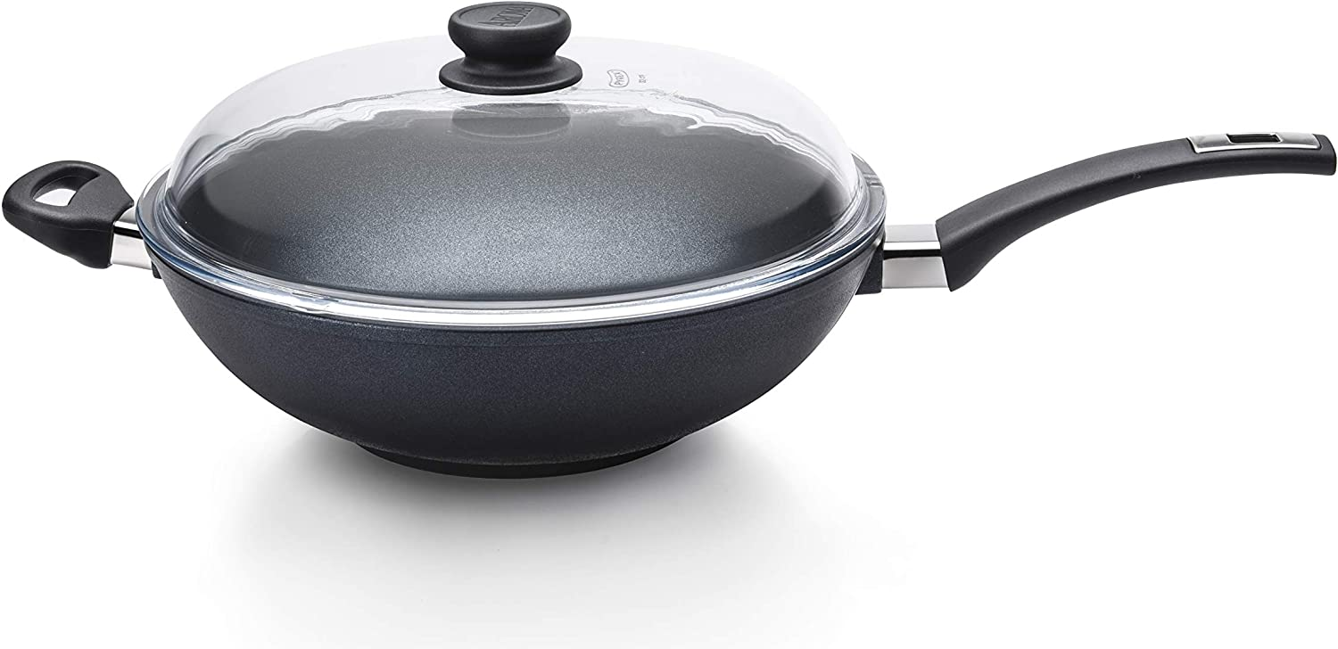 AROMA The Ultimate Wok ACA-021 (Made in Germany) Hand Cast Aluminum Wok with Glass Lid, Nonstick Cookware Pan with Diamond Reinforced Coating, 5-Quart, Black