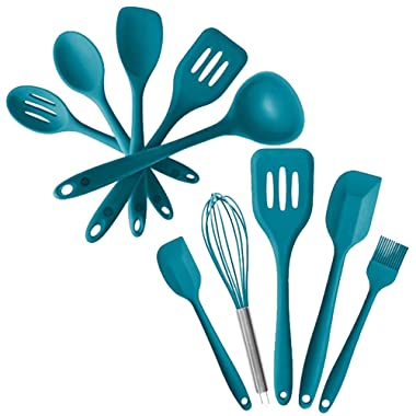 StarPack Value Bundle 0030-5-Pc Silicone Kitchen Utensils (10.6 ) and 5-Pc Silicone Baking Utensils (10.6 ) - Teal Blue