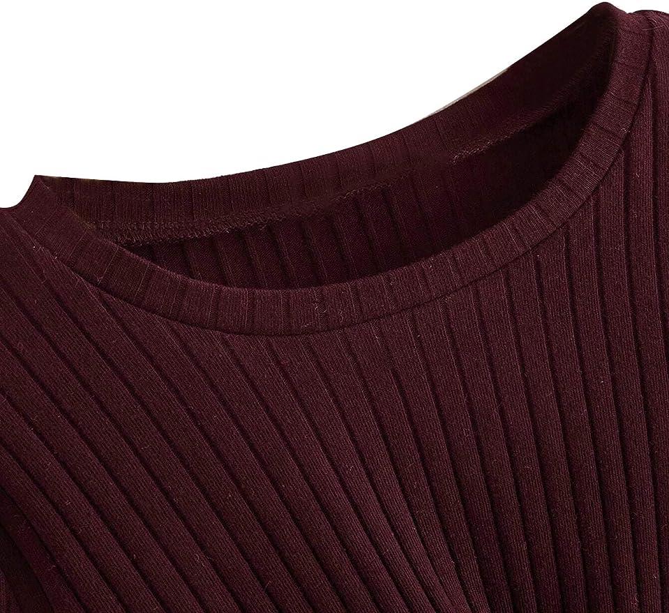 Romwe Girls Cute Rib Knit Long Sleeve Twist Front Crew Neck Slim Fit Crop Tee Top Blouse