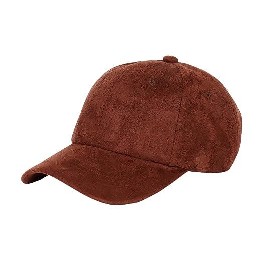 Suede Low Profile Plain Adjustable Strapback Baseball Dad Cap (Brown ... 192b77e54555