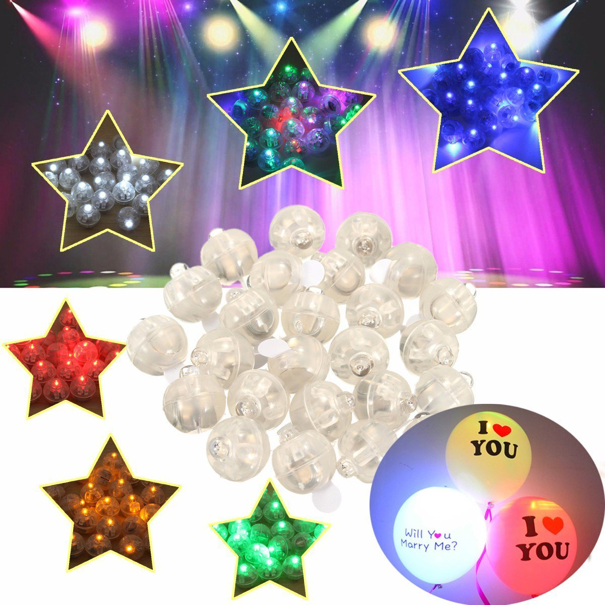 Neo LOONS 50pcs//lot 50 X White Round Led Flash Ball Lamp Balloon Light Long Standby time for Paper Lantern Balloon Light Party Wedding Decoration