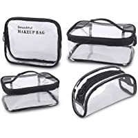 Xcellent Global 4 Pcs Clear Travel Toiletry Bags, TSA Approved Clear Makeup Carry On Bags with Zipper and Handle BT054