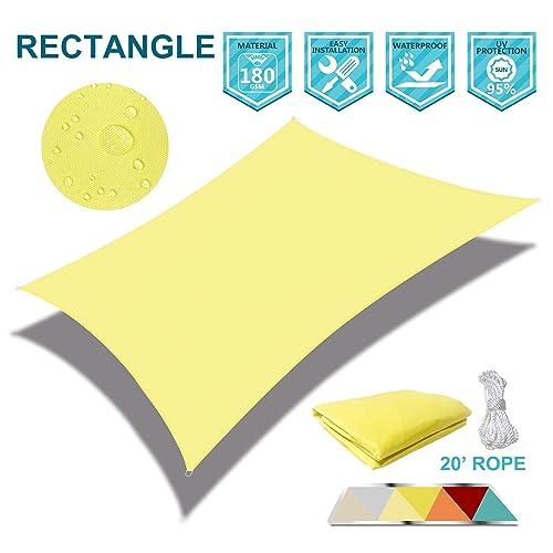 Coarbor Waterproof 10 x10 Sun Shade Sail Canopy Customized Square Polyester for Pergola Carport Awning Patio Yard UV Block- Make to Order-Light Yellow