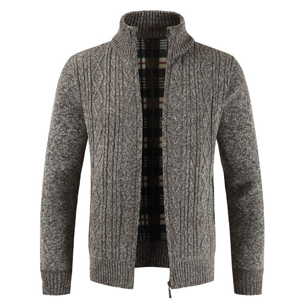 Clearance Forthery Men's Zip Knitted Cardigan Fleece Knitted Sweater Cardigan Coat(Coffee, US Size XL = Tag 2XL)