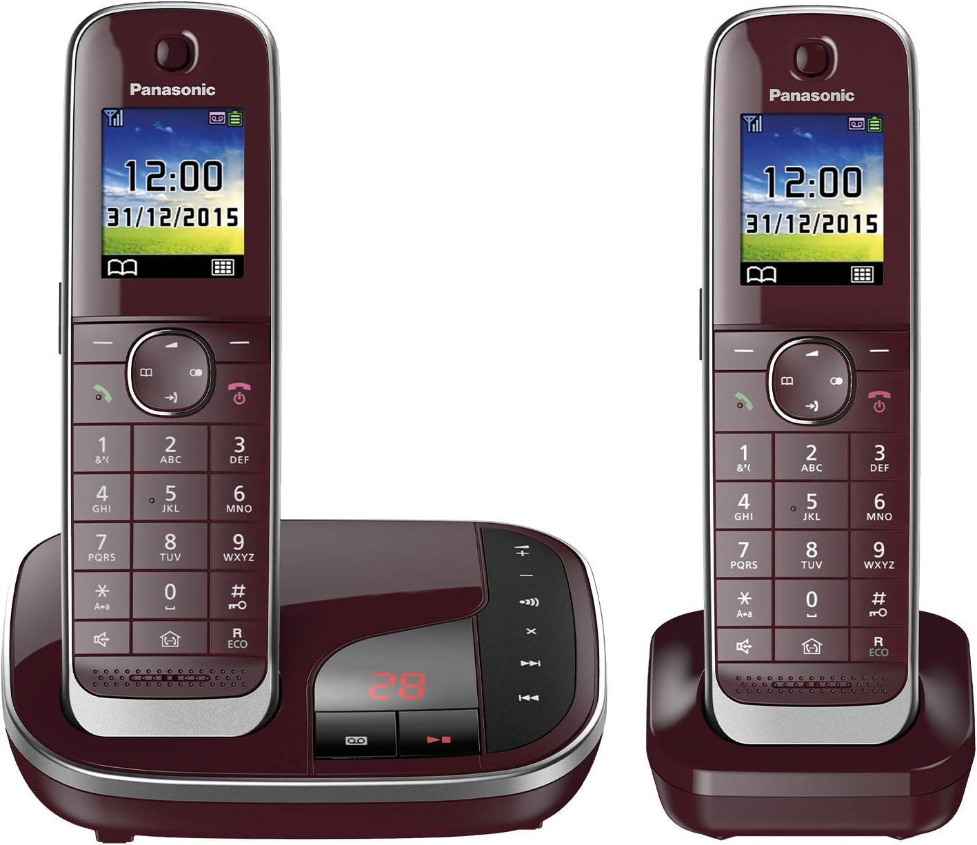 Panasonic KX-TGJ322 - Teléfono (Teléfono DECT, Identificador de Llamadas, Servicios de Mensajes Cortos (SMS), Rojo) [versión importada]