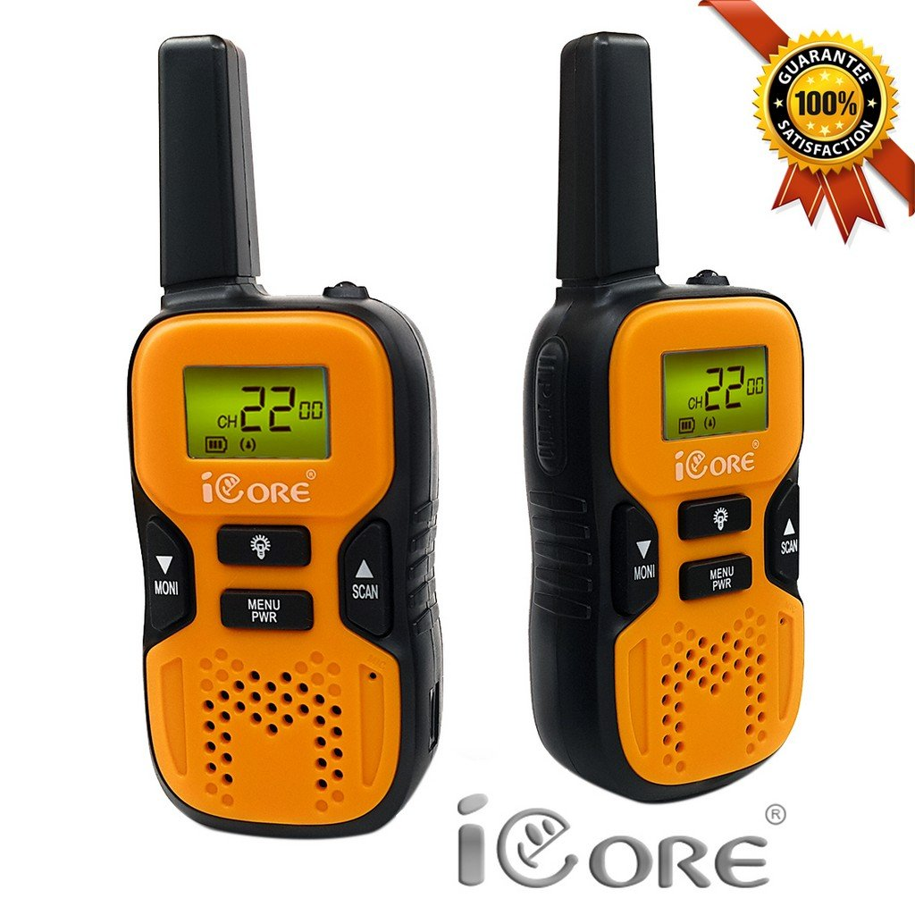 iCore Walkie Talkies for Kids, Long Range Walkie Talkie with 2 Way Radios (Pair), 22 Channel Walky Talk Rechargeable, Built-in Flash Light for Girls Boys Toys Age 6 7 Year Old Up (Orange) by iCore (Image #7)