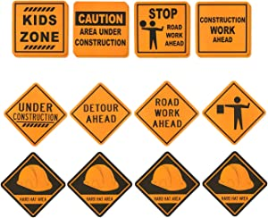 Blue Panda 16-Pack Under Construction Zone Sign Cutouts for Kids Birthday Party Supplies, Assorted, 12 x 12 Inches