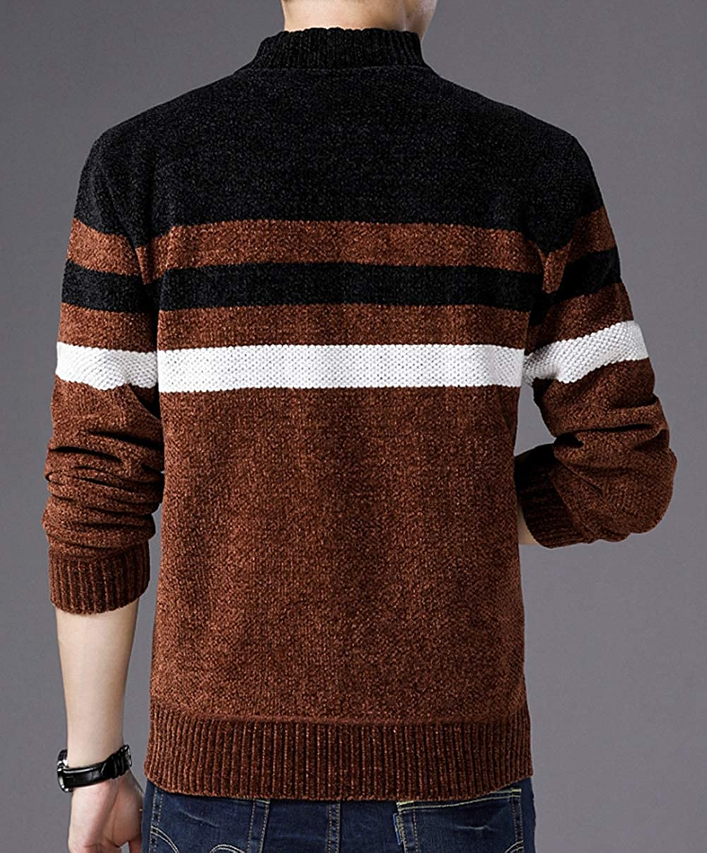 Fuwenni Mens Casual Slim Fit Stripes Knitted Zipper Cardigan Sweaters