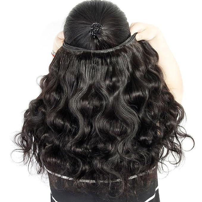 Extensiones de cabello natural ondulado brasileño de Oisk® 7A, 3 unidades, color natural: Amazon.es: Belleza