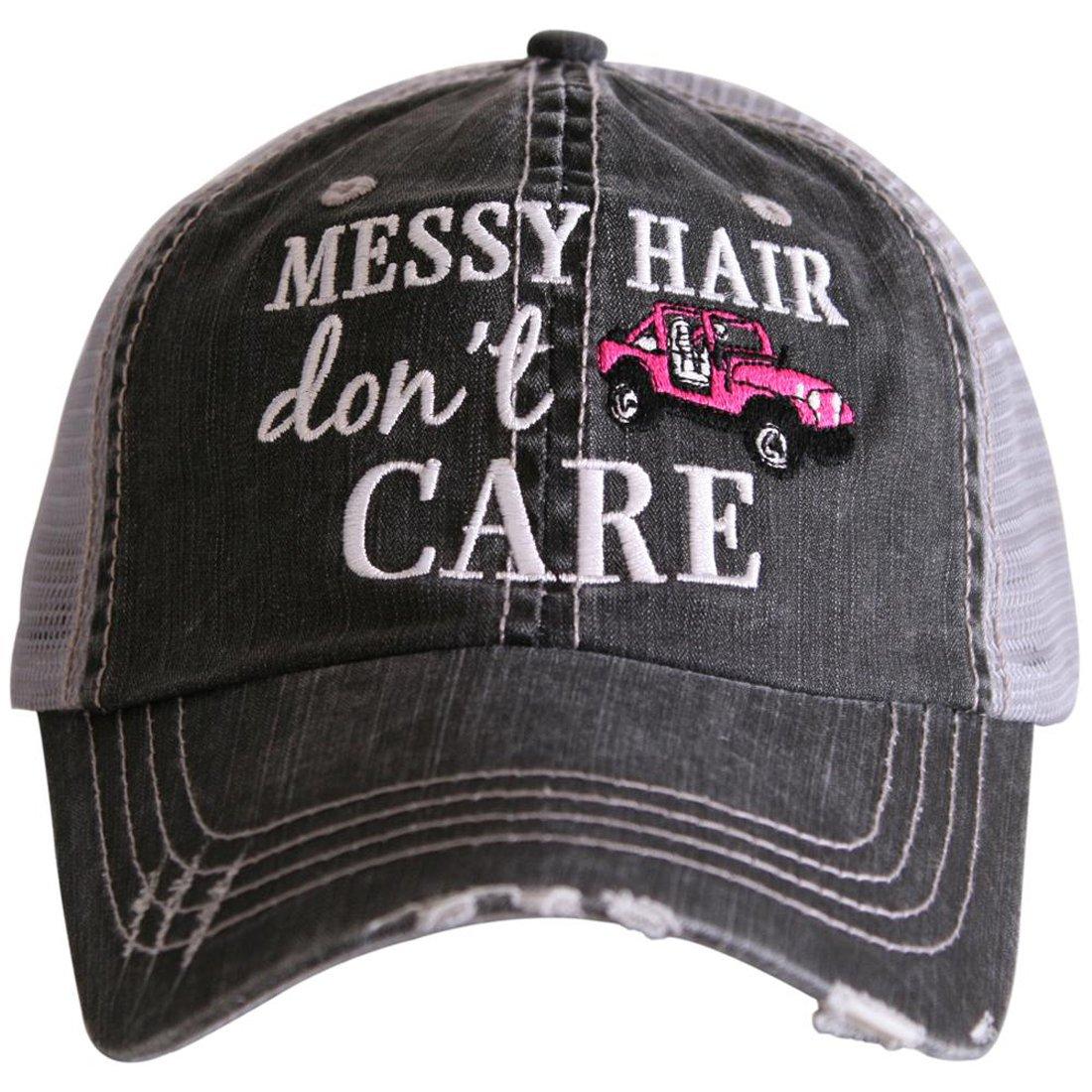 Katydid Messy Hair Don't Care Women's Distressed Grey Trucker Hat