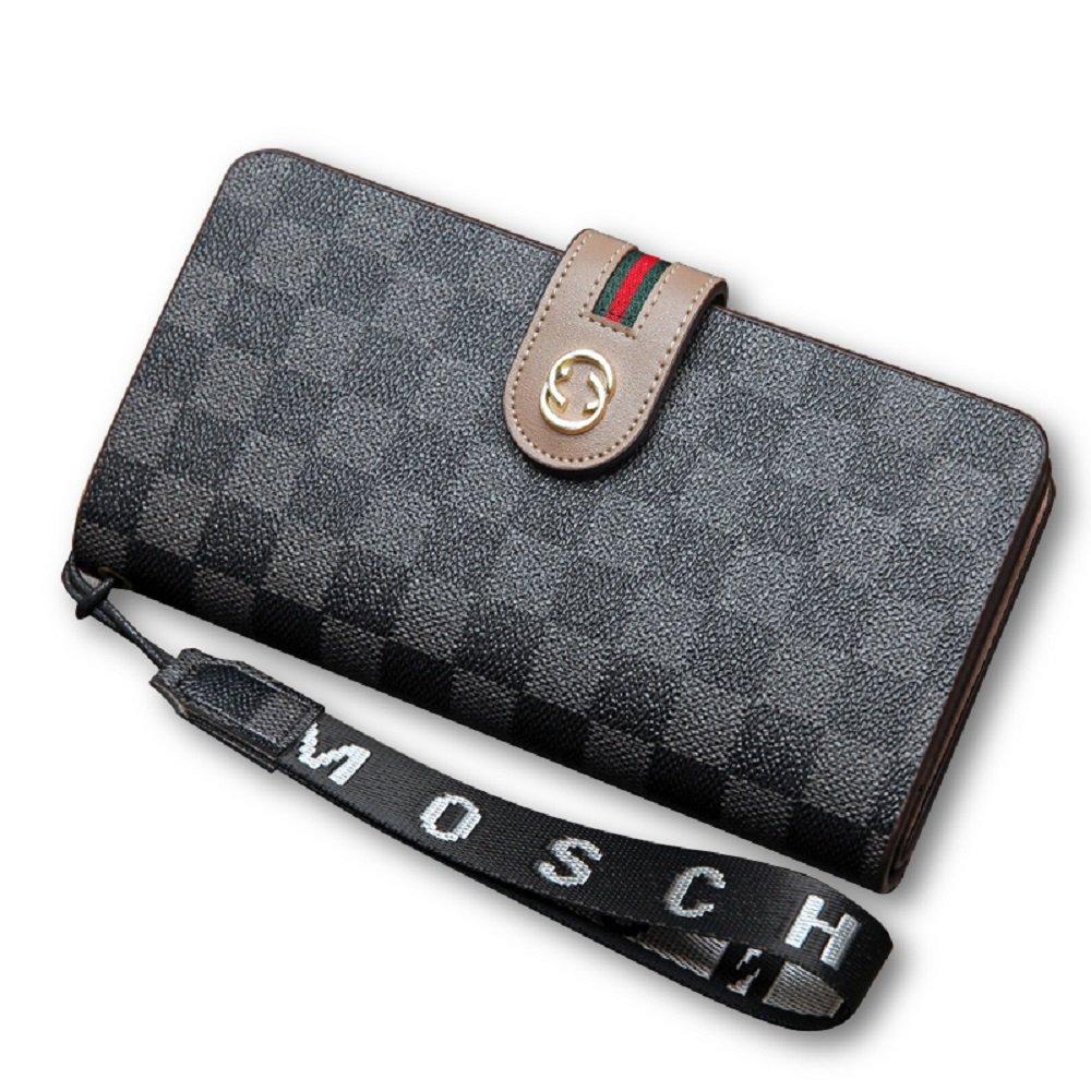 Van Persie Women's Long Bi-fold PU Leather Purse Zipper Card Organizer Fashion Wallet (Black2)