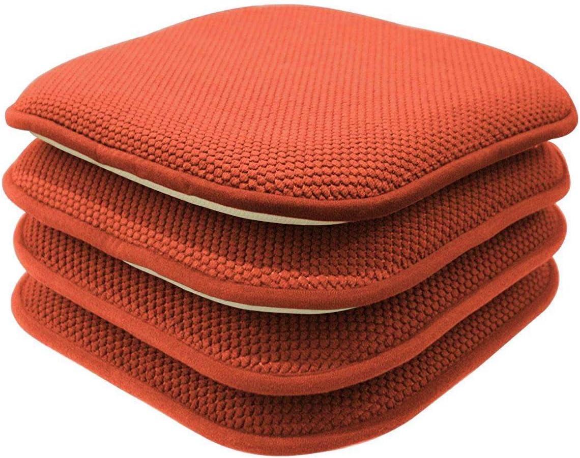 GoodGram 4 Pack Non Slip Ultra Soft Chenille Honeycomb Premium Comfort Memory Foam Chair Pads/Cushions - Assorted Colors (Pumpkin Spice)
