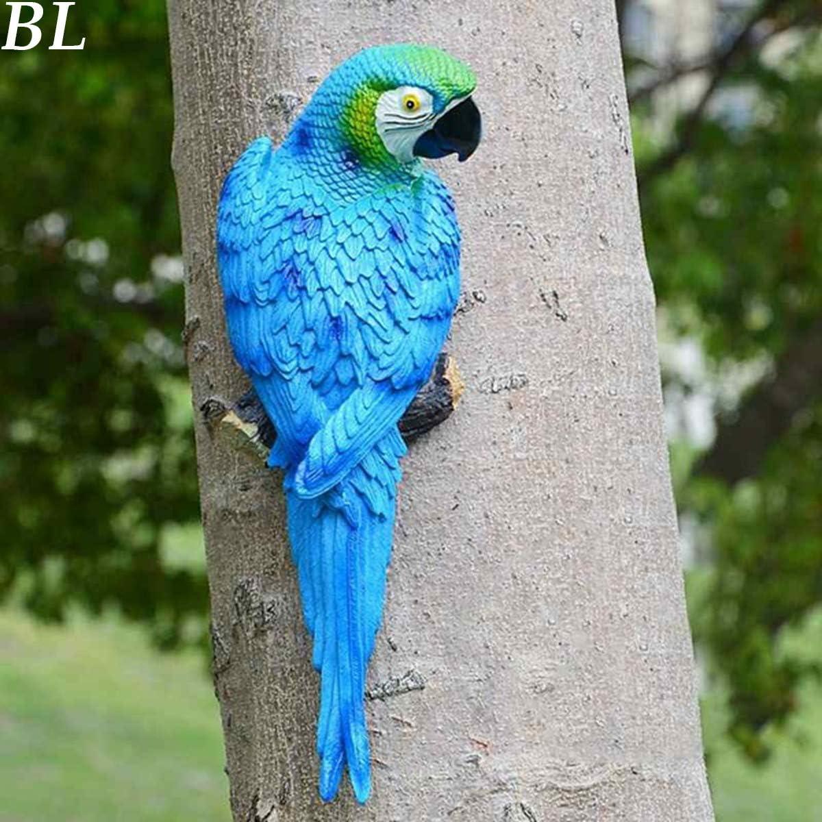 CHDHALTD Lifelike Parrot Figurines,DIY Parrot Statues Home Decorations Garden Ornaments Sculptures(Blue Left)