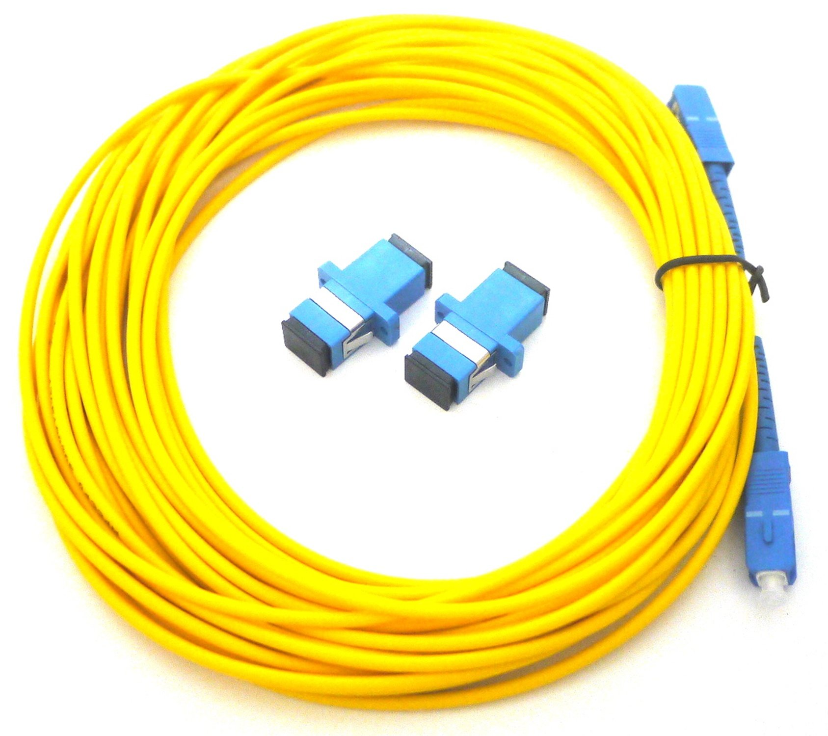 [해외]광섬유 케이블 황색 10m sc-sc 어댑터 집합 / Fiber optic extension Cable Yellow 10m SC-SC Adapter set