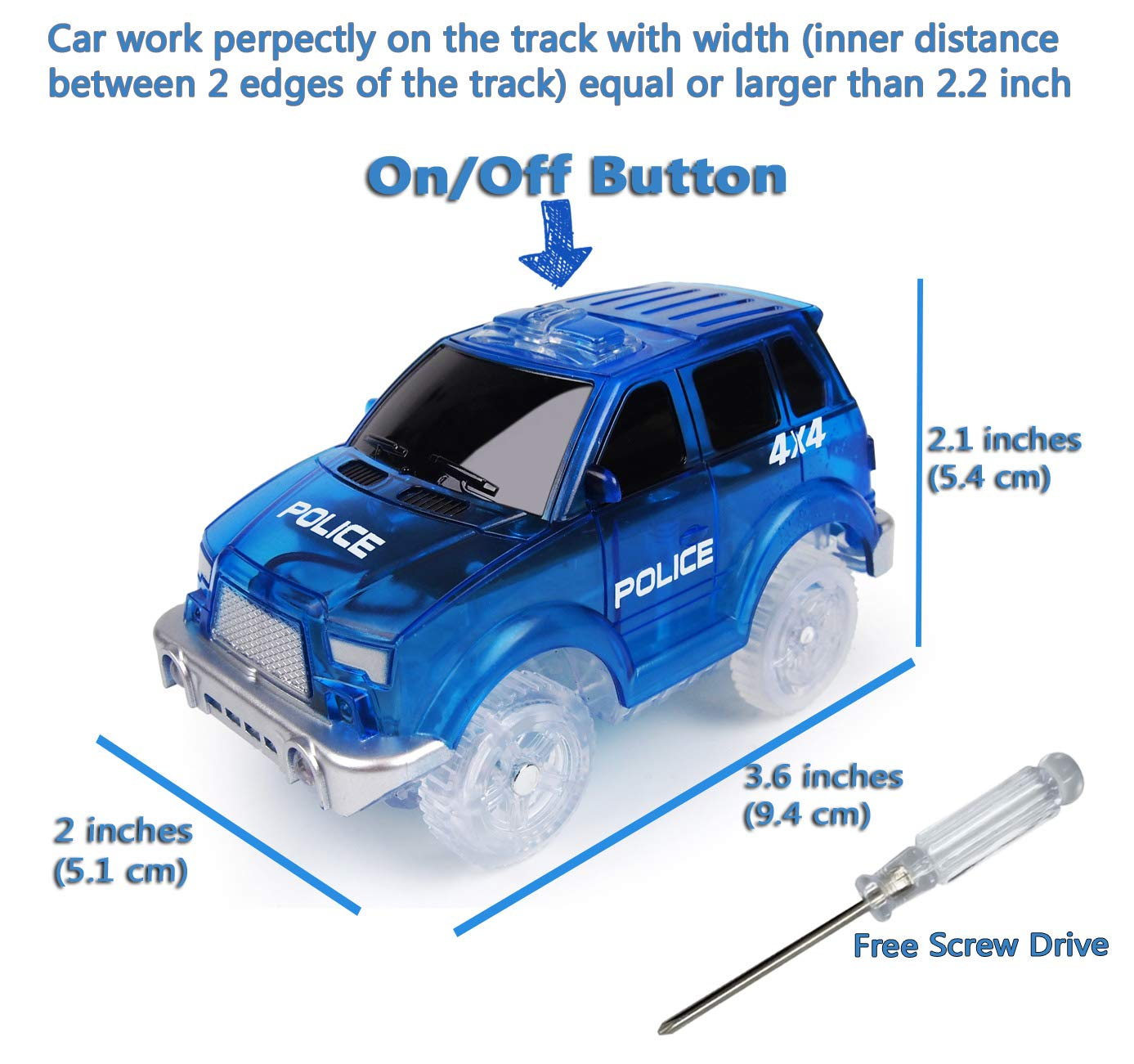 Track Car 3 Pack, Green Military Jeep, Blue Police and School Bus Car, with 5 LED Lights, Compatible with Most Tracks Including Magic Tracks, Neo Twister Tracks, Boys and Girls by HapiSimi (Image #3)