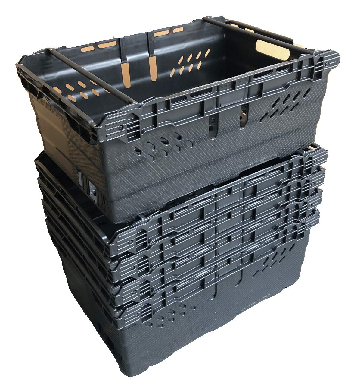 1 46 Litre BLACK Heavy Duty Stack Nest Bale Arm Plastic Supermarket Storage Box Swing Bar Container Crate!