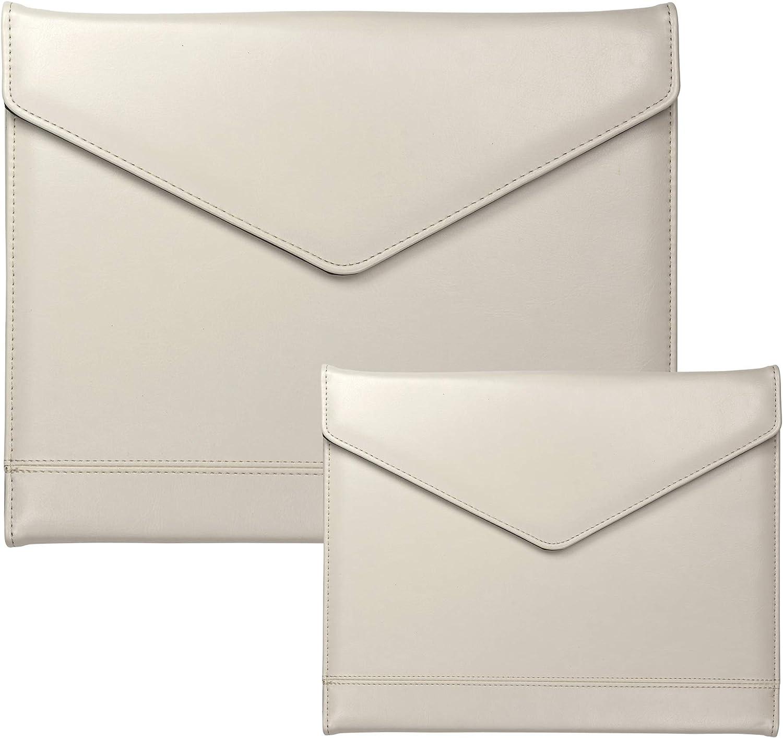 Samsill Envelope Style Trifold Padfolio for Women – Resume Portfolio/Business Portfolio with Magnetic Closure (Cream, Letter/Junior Bundle)