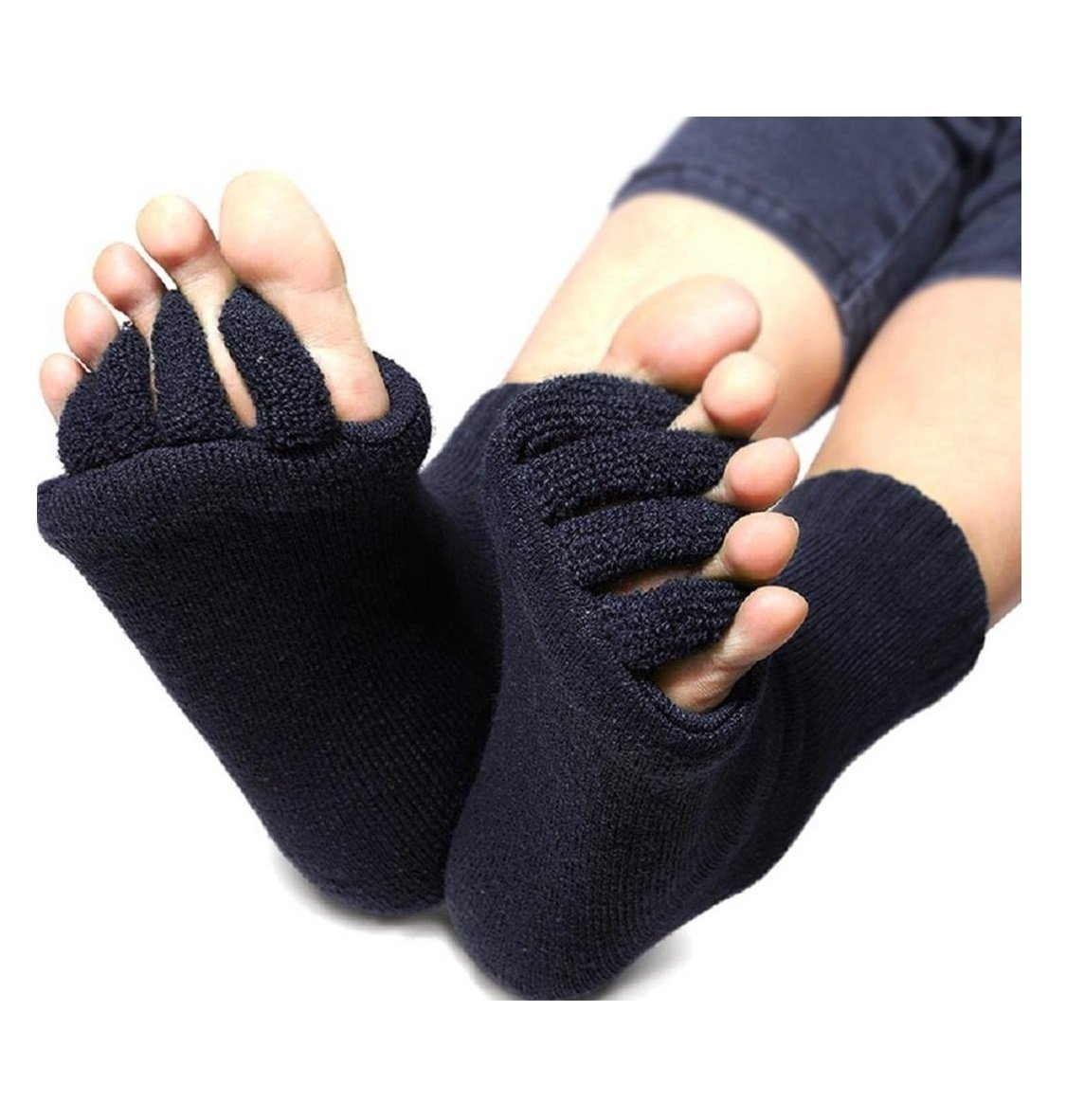 DevsWear Alignment Socks Open Five Toes Separator Toe Spacer Relaxing Comfort Tendon Pain Relief Comfy Foot Sock Yoga Gym Pedicure (Black - 1 Pair) by DevsWear