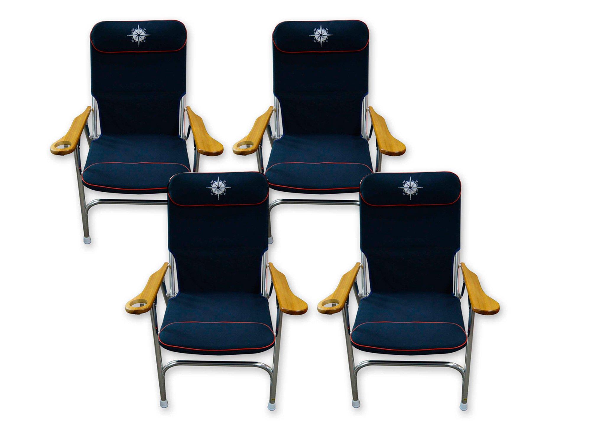 Five Oceans Navy Blue Skipper Deck Chair (Set of 4) - BC 3885