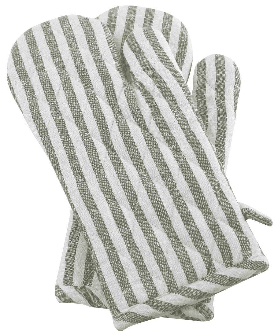 Cote De Amor Set of 2 Oven Mitts Gloves Bulk Heat Resistant and Machine Washable, 100% Cotton Farmhouse Stripe Oven Mitts for Everyday Kitchen Cooking Baking BBQ, Natural Green