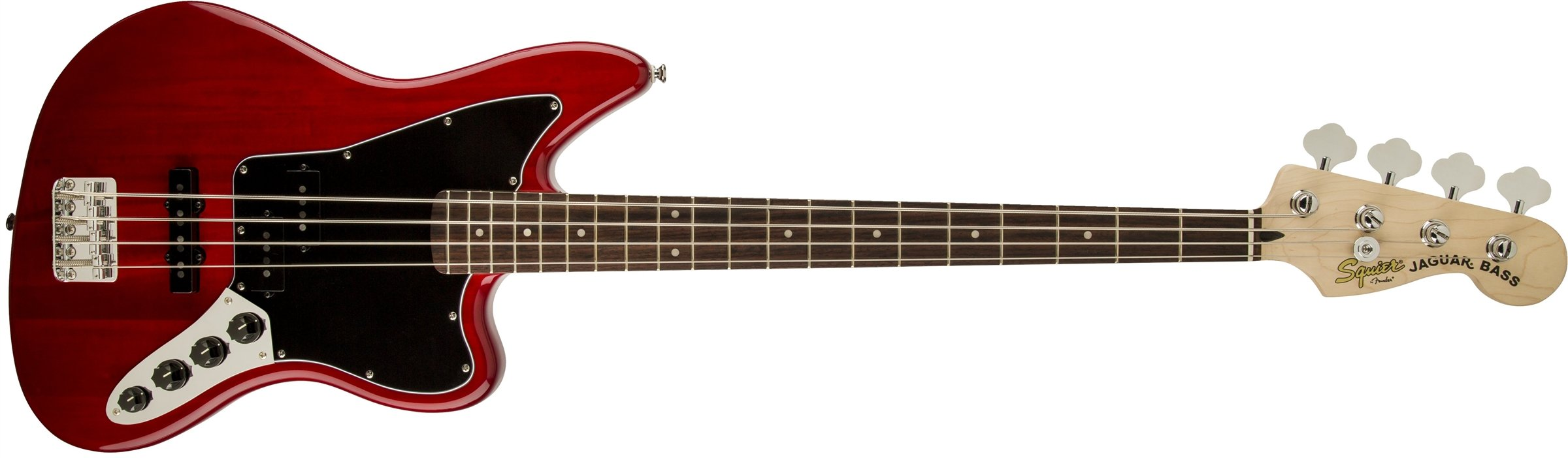 Squier by Fender Vintage Modified Jaguar Beginner Short Scale Electric Bass Guitar - Crimson Red Transparent by Fender (Image #1)