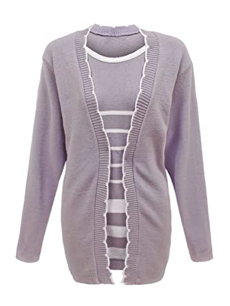 Knitted Ladies Insert Womens Sweater Set Long Twin Jumper Sleeve 6bgfy7