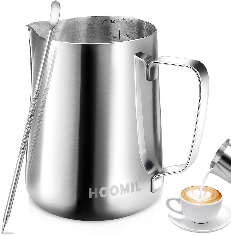 HOOMIL Jarra para Leche para Espumar de Acero Inoxidable para Café y Latte Art (12fl.oz/350ml)