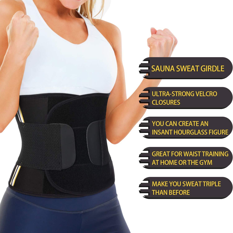 Wonderience Women Neoprene Sauna Sweat Belt Waist Trainer Corset Slimming Body Shaper for Weight Loss