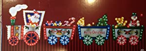 """118"""" L X 36"""" H LIGHTED MERRY CHRISTMAS TRAIN WITH SANTA DRIVER PULLING PRESENTS SNOWMAN TEDDY BEAR CANDY CANES GIFT BOXES OUTDOOR OR INDOOR ALMOST 10 FEET LONG YARD LAWN DISPLAY SIGN"""